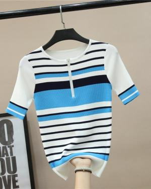 Seulgi Neck Zipper Striped Knit Shirt (7)