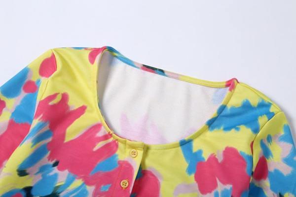 Multicolor Dye Gradient  Buttoned Crop Cardigan | Hyuna