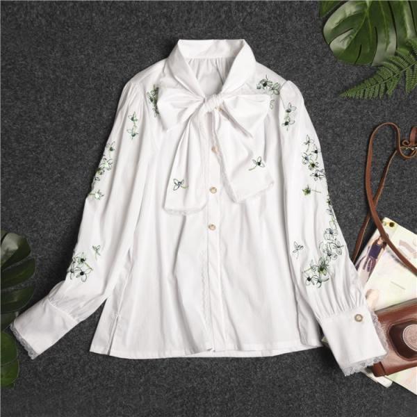 White Flower Embroidered Shirt | IU – Hotel Del Luna