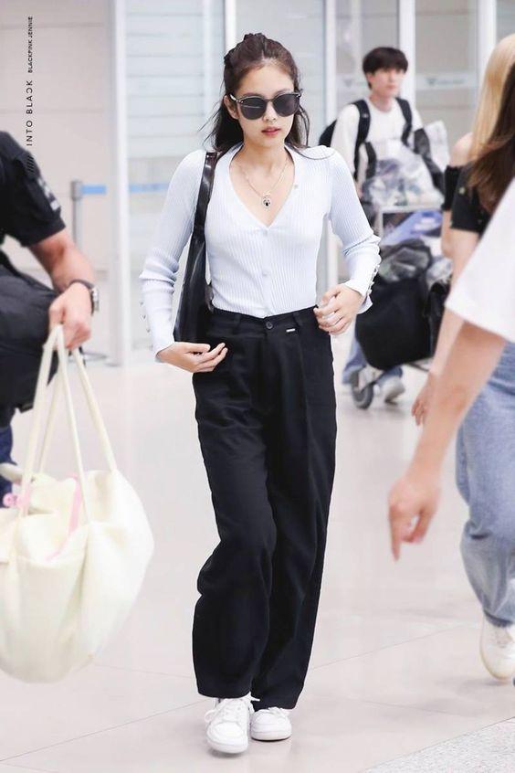 Wide Black Trousers | Jennie – BlackPink
