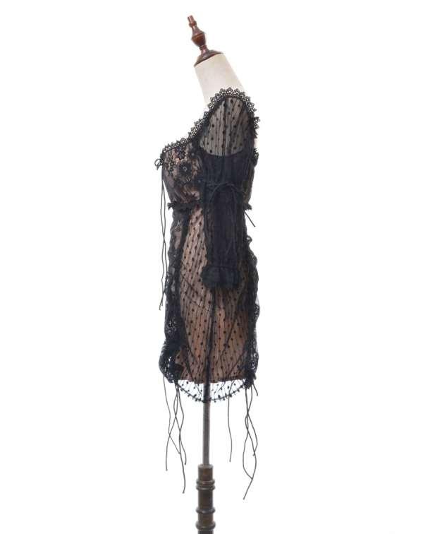 Sexy Drawstring Embroidery Lace Dress   Jisoo – BlackPink