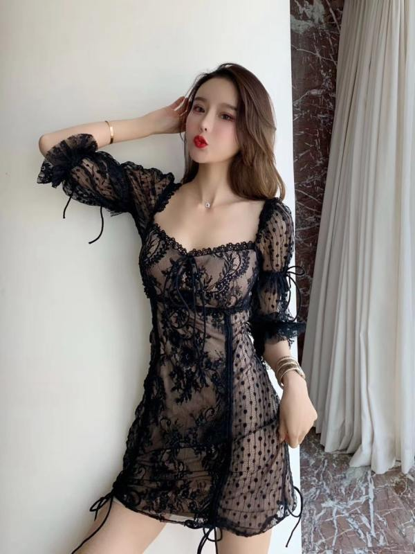 Sexy Drawstring Embroidery Lace Dress | Jisoo – BlackPink