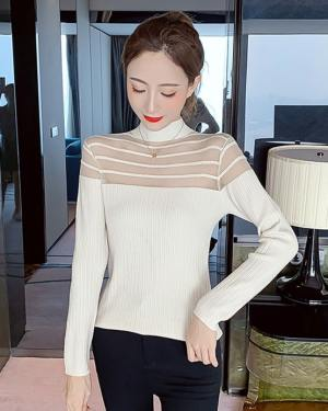 Sana High Collar See-through Mesh Chest Sweater (6)