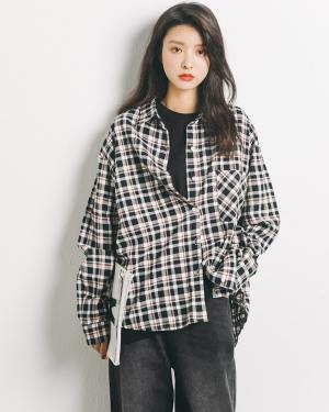 Yuqi Plaid Polo Autumn Shirt (2)