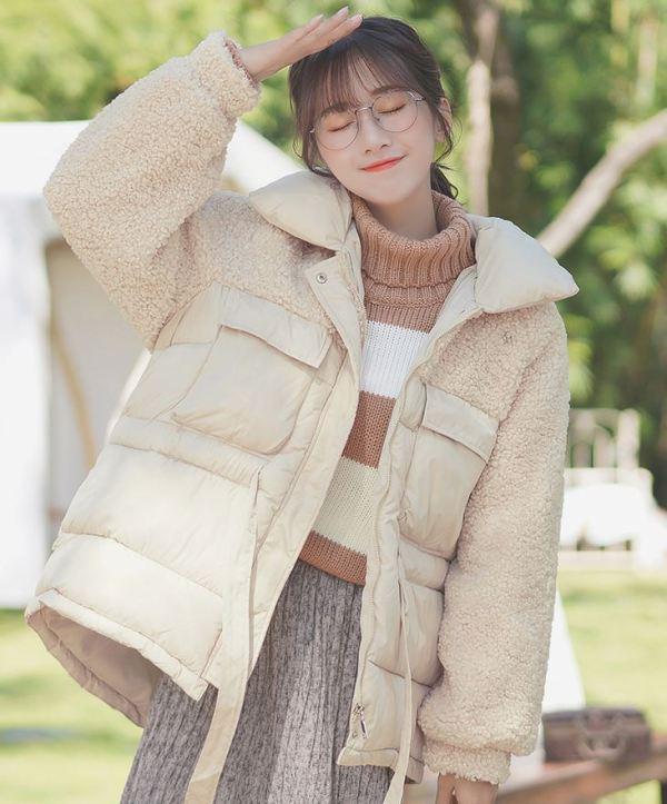 Beige Bomber-Fur Mix Jacket