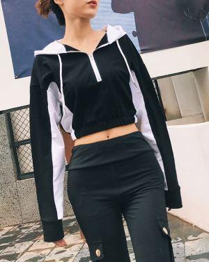 Black White Colored Cropped Zip Hoodie (1)