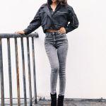 Black Zipper Jacket Short Style