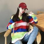 V-Neck Rainbow Striped Sweater | Chaeyoung – Twice