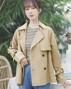 Chic Khaki Regular Long Coat