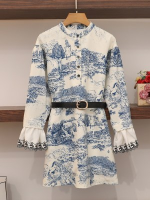 Irene Landscape Scenery Print Shirt Dress (8)