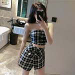 Black And White Plaid Tube Top | Jennie – BlackPink
