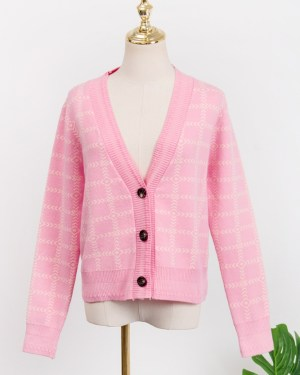 Lisa Pink Plaid Short Cardigan (7)