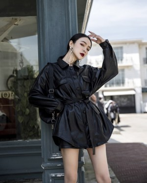 Nayeon Lace belted Leather Long Jacket (5)