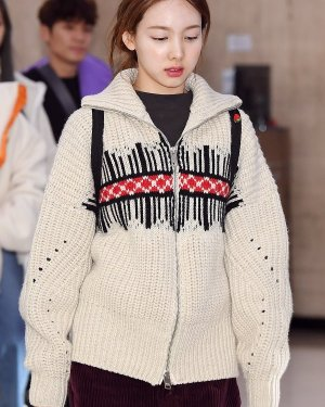 Loose Stand Collar Knit Jacket | Nayeon – Twice