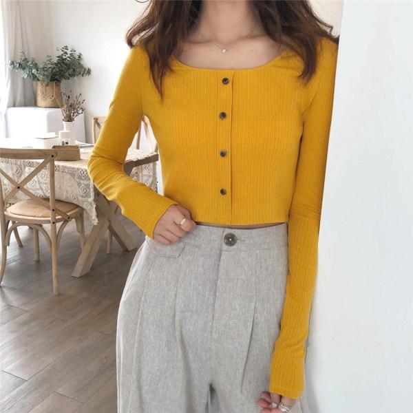Square Collar Crop Long Sleeve Shirt | Rose – BlackPink