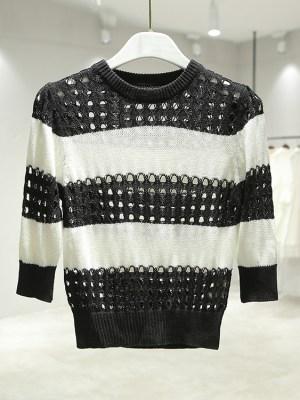 Tzuyu Black White Striped Shirt With Holes (8)