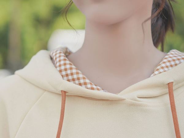 Yellow Checkered Beige Hoodie