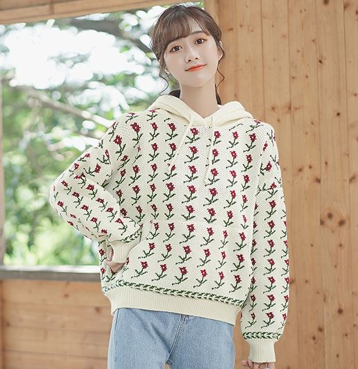 Yellow Flower Stitching Sweater With Hood