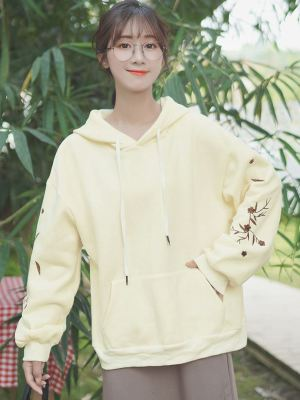 Yellow Hoodie With Flower Pattern On Sleeve (1)