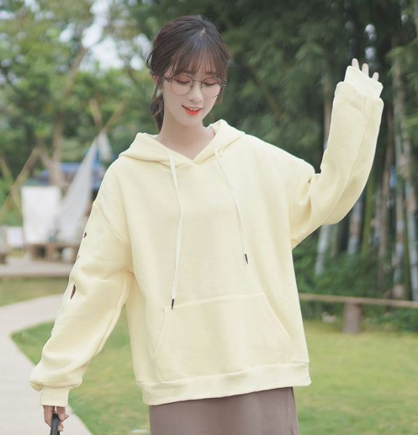 Yellow Hoodie With Flower Pattern On Sleeve