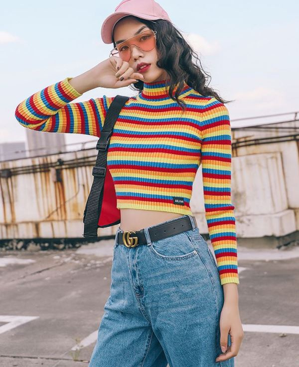 Colored Cropped Turtleneck