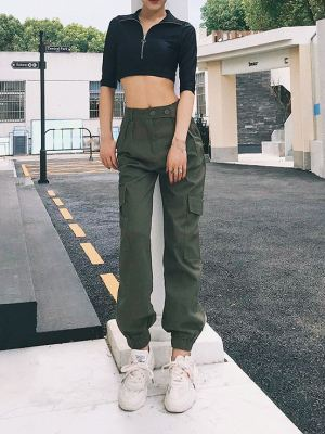 Green High Waist Cargo Pants (1)