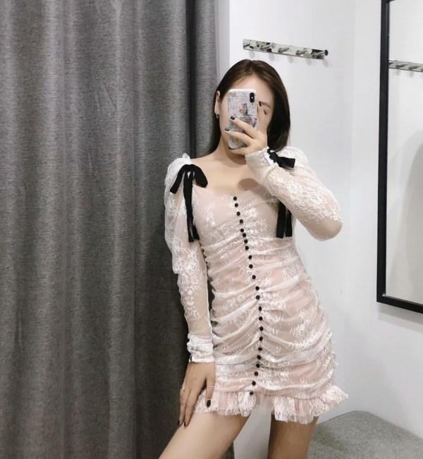 Pleated White Lace Mini Dress   Irene – Red Vevet