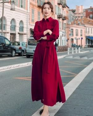 JIhyo Red Long Sleeve Dress (3)