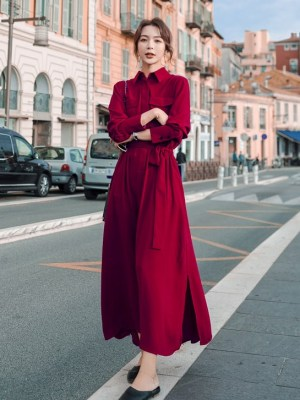 JIhyo Red Long Sleeve Dress (3)