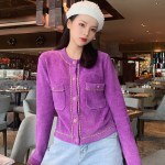 Lilac Chain Outlined Cardigan | Jennie – BlackPink