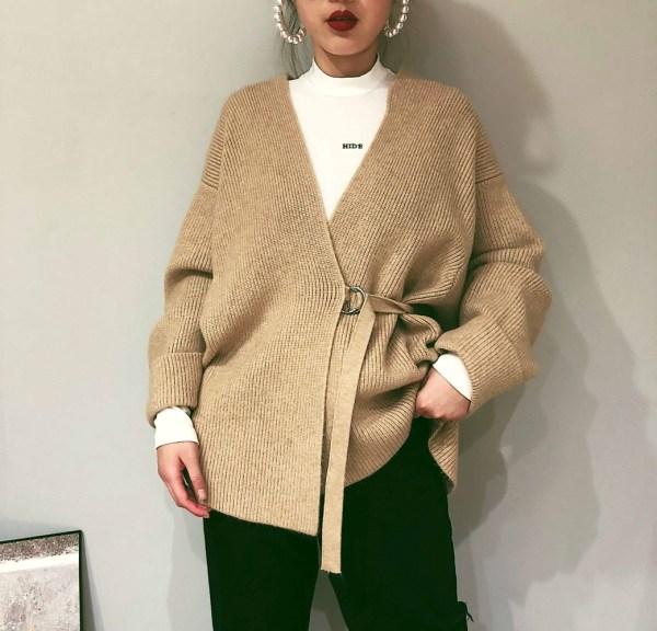 Black Kimono Side Strap Cardigan | Jihyo – Twice