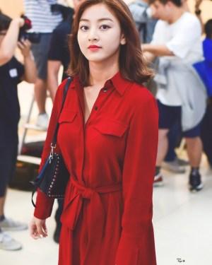 Red Long Sleeve Dress | Jihyo – Twice