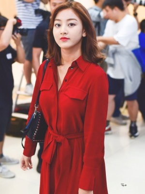 Red Long Sleeve Dress | Jihyo – Twice