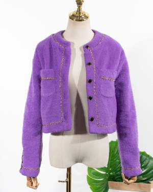 Lilac Chain Outlined Cardigan Jennie BlackPink (3)