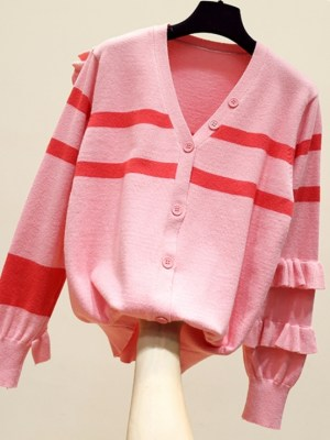 Mina Ruffled Striped Campus Style Cardigan (6)