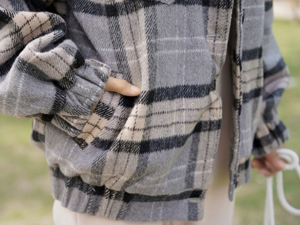 Plaid Lilac Buttoned Wool Jacket