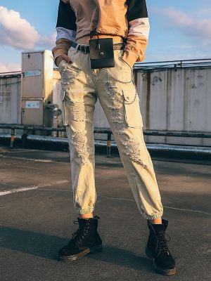 Ripped Cargo Pants With Chain (1)