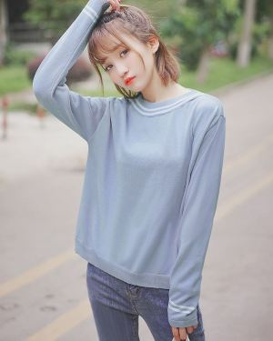 Round Neck Sweater with Collar Detail (1)