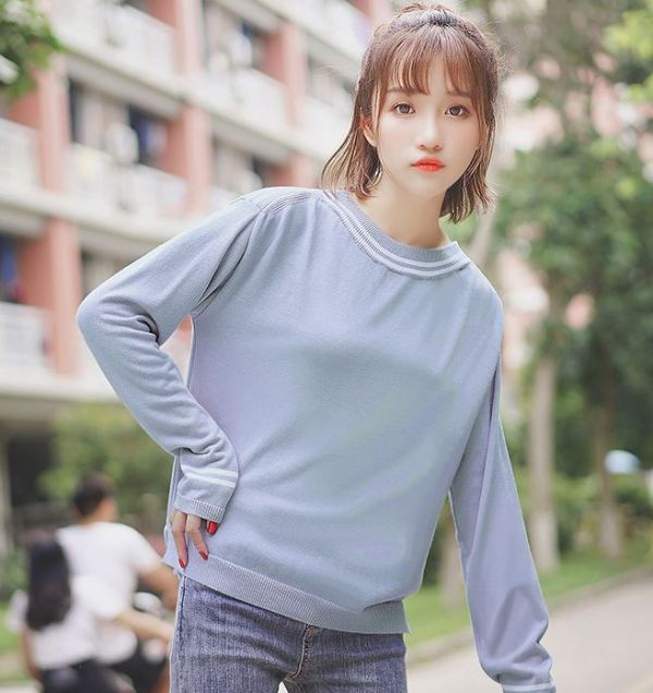 Round Neck Sweater with Collar Detail