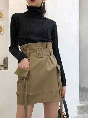 Soojin Tie Waist Belted Skirt (2)