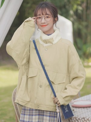Stand Collar Beige Coat With Pockets (6)