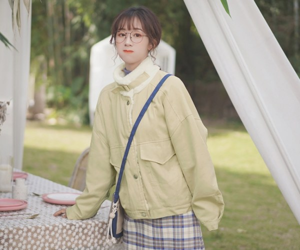 Stand Collar Beige Coat With Pockets