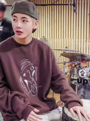 Brown Abstract Face Sweater | Taehyung – BTS