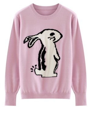 Tzuyu White Rabbit Designed Lilac Sweater (1)