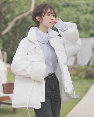 White Waist Cotton Coat