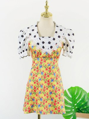 Hyuna Puff Sleeve Polka Dots Floral Dress (2)
