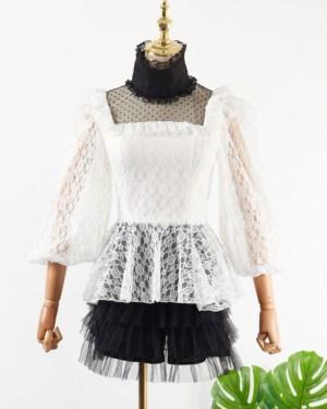 Hyuna Turtleneck White Long Sleeve Lace Blouse (1)