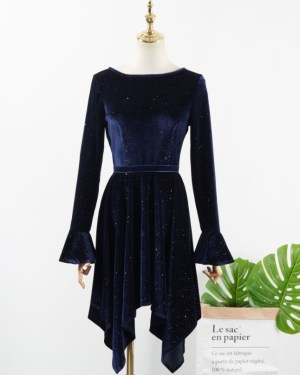IU Sparkling Velvet Blue Irregular Dress (1)
