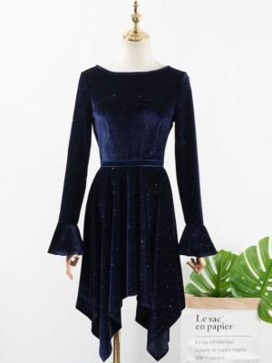 IU Sparkling Velvet Blue Irregular Dress (1)