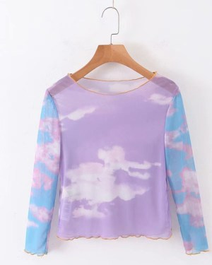 Jennie Dreamy Clouds Mesh T-Shirt (1)